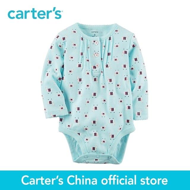 0191d5528764d Carter's 1-Piece baby children kids clothing girl all season Cotton Printed  Henley Bodysuit 118H489