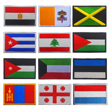 1 PC 3D Ricamato Georgia Estonia Kuwait Cuba Jordan Giamaica Bandiera di Patch Cucire Sui Vestiti Bracciale Zaino Sticker FAI DA TE Applique(China)