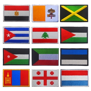 1PC 3D Embroidered Georgia Estonia Kuwait Cuba Jordan Jamaica Flag Patch Sew On Clothes Armband Backpack Sticker DIY Applique(China)