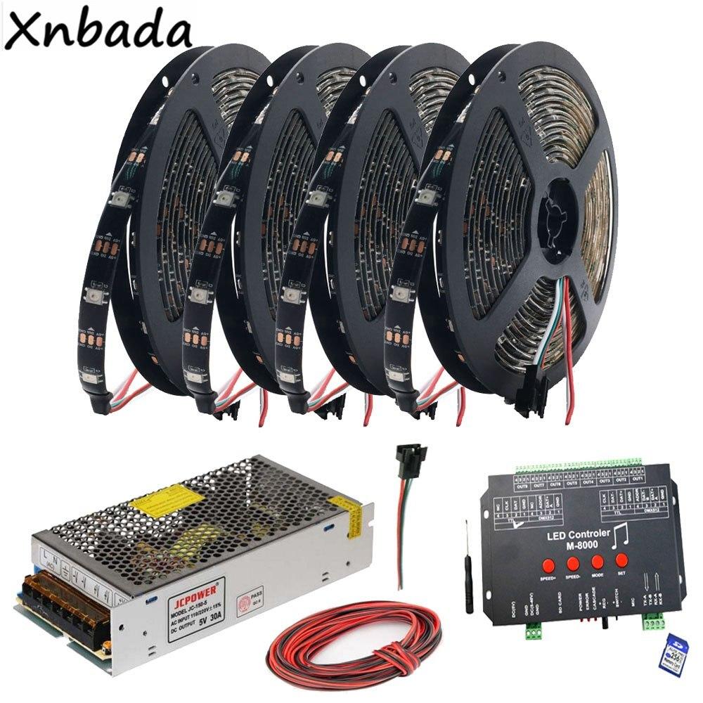 WS2812B WS2812 RGB Светодиодные полосы света ленты M 8000 Prograble 8096 Пиксели Музыка RGB Led контроллер DC5V Led Трансформатор комплект