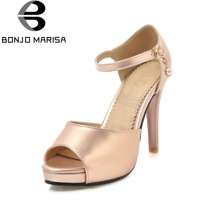 BONJOMARISA 2018 Summer Big Size 34-43 Bling Party Wedding Sandals Women Cover Heels Platform High Heels Shoes Woman