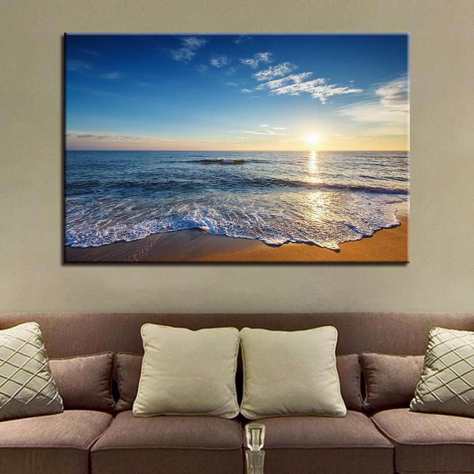 Canvas Painting Home Hd Printed 1 Piecepcs Sunrise Beach