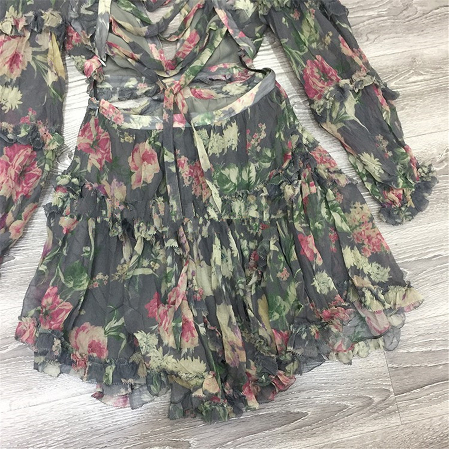 18 Autumn New Arrival Designer Women Mini-dress 100%silk Fabric Long Sleeve Flower Print Grey Sexy Backless V-neck Dress 3