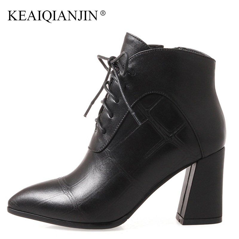 KEAIQIANJIN Woman Lace Up Ankle Boots Autumn Winter Black Punk Boots Plus Size 34 - 42 Genuine Leather Red Pointed Toe Boots keaiqianjin woman rivet motorcycle boots autumn winter bottine plus size 33 43 shoes black red genuine leather ankle boots