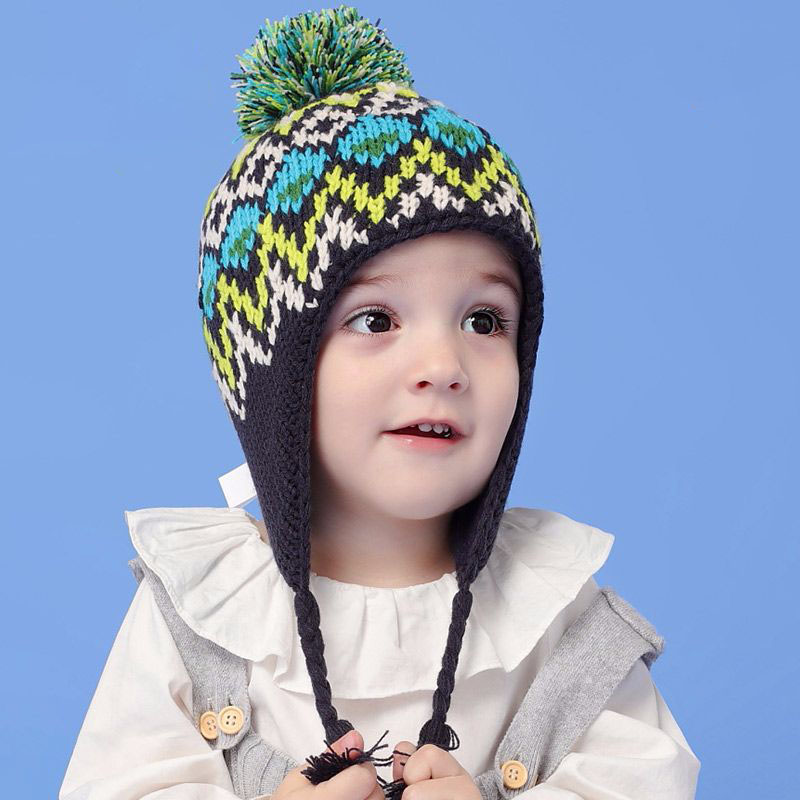 2018 New Fashion Baby Hat Hit Color Children Winter Hats Cotton Thick Warm Knitted Ears Cap For Ages 2-8 Girls Boy Baby Playpens