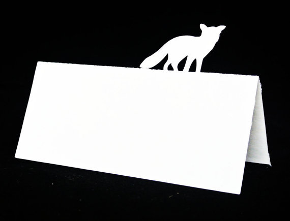 Fox sillouette escort place cards rustic wedding tented for Table 52 cards