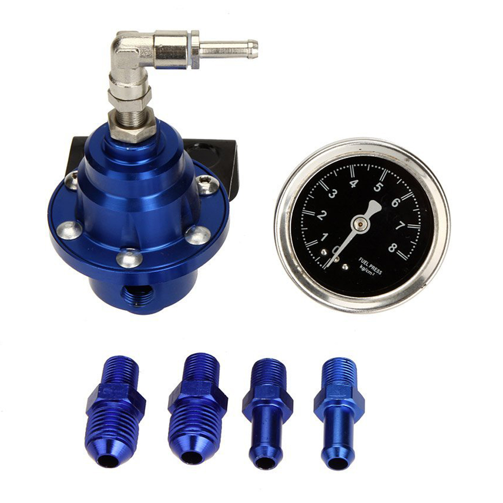High <font><b>Performance</b></font> Car Fuel Pressure Gauge Adjustable Fuel Pressure Regulator Blue image