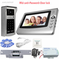 Rfid Keypad Doorphones For A Private House 7 Color Monitor Video Doorbell Interphone Access Control Home