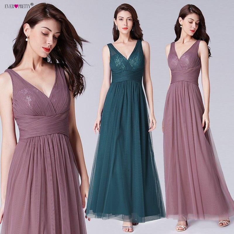 Bridesmaids Dresses For Women Ever Pretty EP07458 Elegant A-Line V-Neck Long Tulle Wedding Party Dress Robe Demoiselle D'honneur