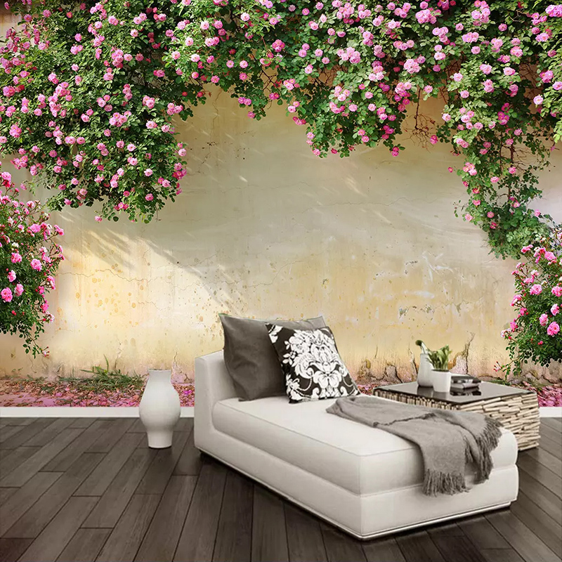 Custom Photo Wall Paper Painting 3D Pink Flower Vine Backdrop Wall Murals Wallpaper For Living Room Kitchen Wall Home Decoration