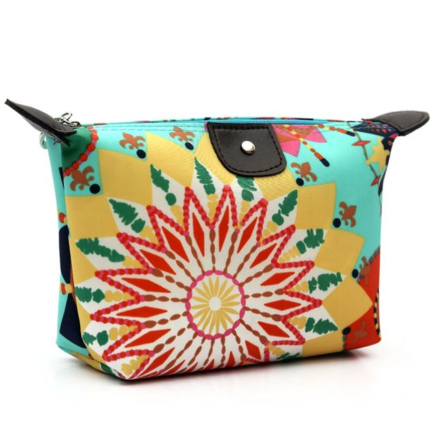ISKYBOB New Vintage Floral Printed Cosmetic Bag Women Makeup Bags Female Zipper Cosmetics Bag Portable Travel Make Up Pouch Cosmetic Bags