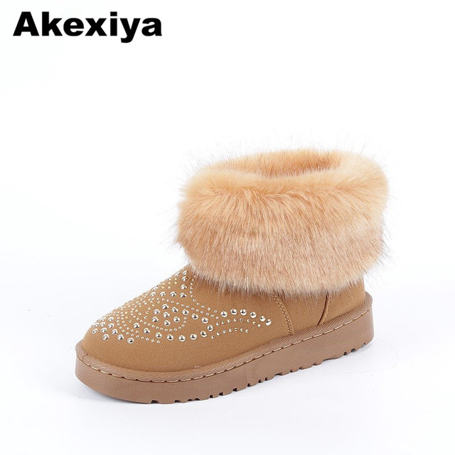 cce2e4c3996aa Akexiya Classic Women Winter Boots Suede Ankle Hot drilling Snow Boots  Female Warm Fur Plush Insole High Quality Botas Mujer