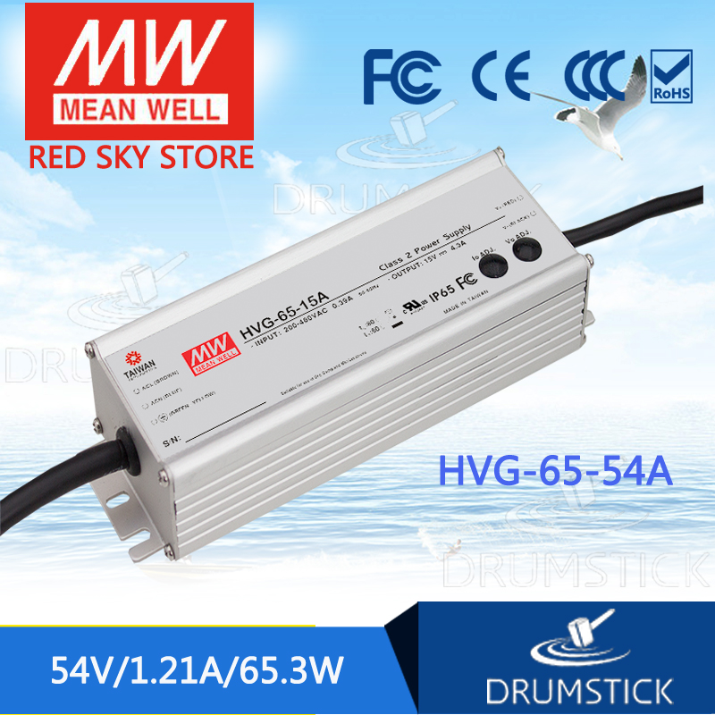MEAN WELL HVG-65-54A 54V 1.21A meanwell HVG-65 54V 65.3W Single Output LED Driver Power Supply A type [powernex] mean well original hvg 65 54d 54v 1 21a meanwell hvg 65 54v 65 3w single output led driver power supply d type