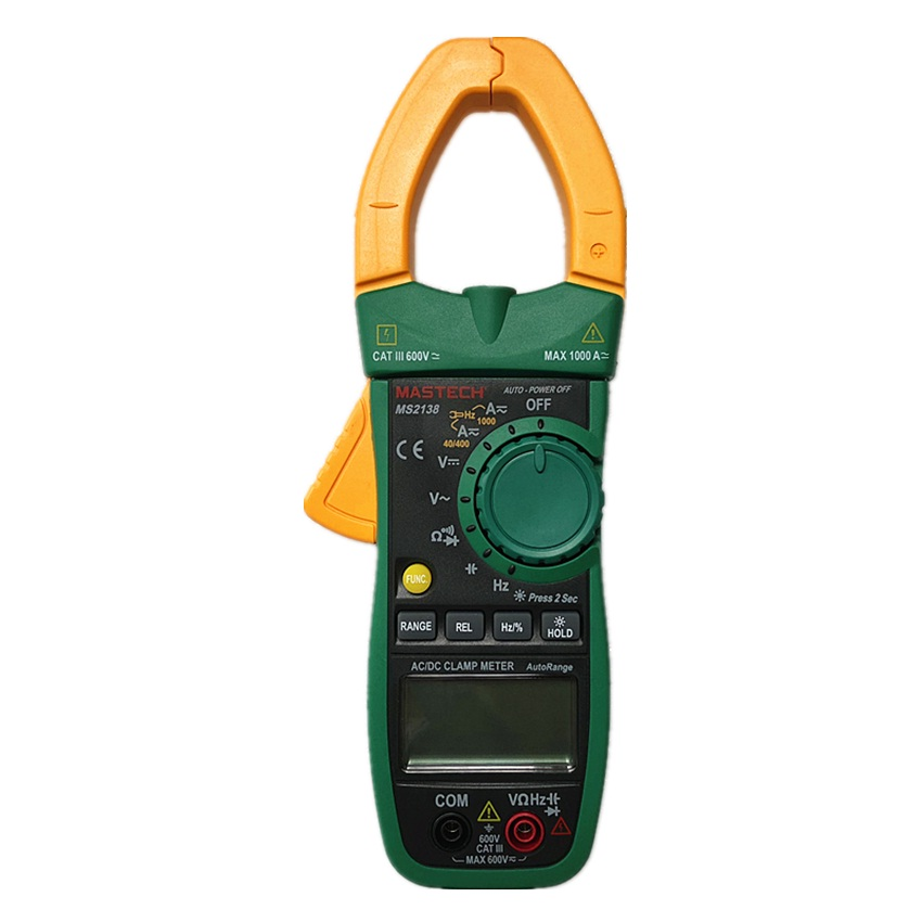 MASTECH MS2138 AC/DC Clamp Meter Digital Multimeter 4000 Counts 1000A Electrical Current Voltage Tester with High Performance