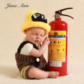 Photography baby  firefighter Fireman costume Newborn props infant  knit  crochet outfits hat +dungarees  baby shower gift