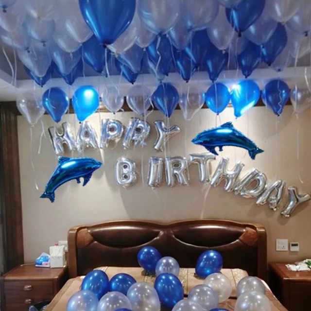 1set Boy Blue ballons Silver Happy Birthday Balons Party Decoration