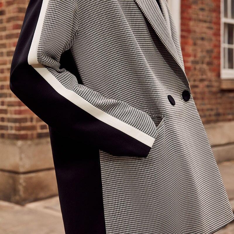 Vero Moda 19 New Stripe Splice Knitted Houndstooth Suit Jacket Plaid women Long Blazer 318308536 16