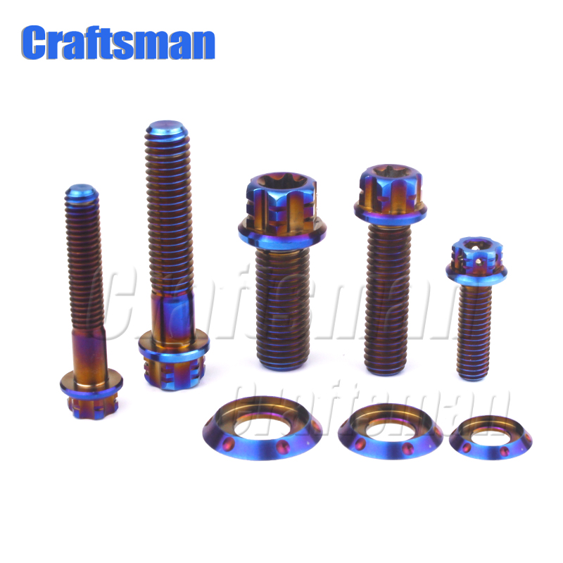 Ti Flange <font><b>Screw</b></font> <font><b>Titanium</b></font> Bolt for Motorcycle Modification Brake Calipers M6 M8 <font><b>M10</b></font> x15-60mm Burned Blue Ti Bolts Torx Head 2pcs image