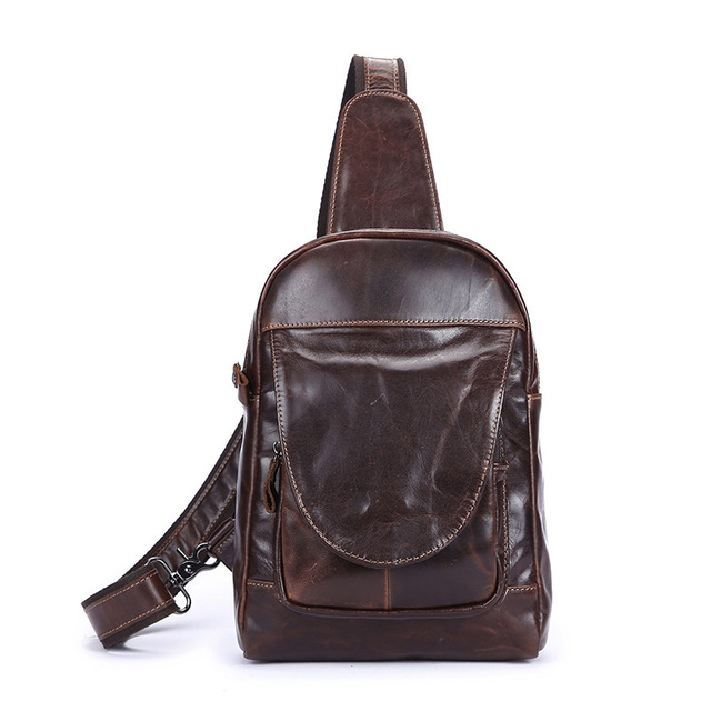 Retro oil wax cowhide first layer of cowhide fashion diagonal cross - package men 's leather leisure male bag