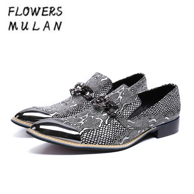 Personality Fashion Men Casual Shoes Slip On Print Leather Male Business Shoes Silver Metallic Toe Chain Buckle Male Zapatos BoyPersonality Fashion Men Casual Shoes Slip On Print Leather Male Business Shoes Silver Metallic Toe Chain Buckle Male Zapatos Boy