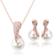 Top quality  Rhinestone Simulated Pearl necklace earrings wedding banquet package jewelry sets Bride gift