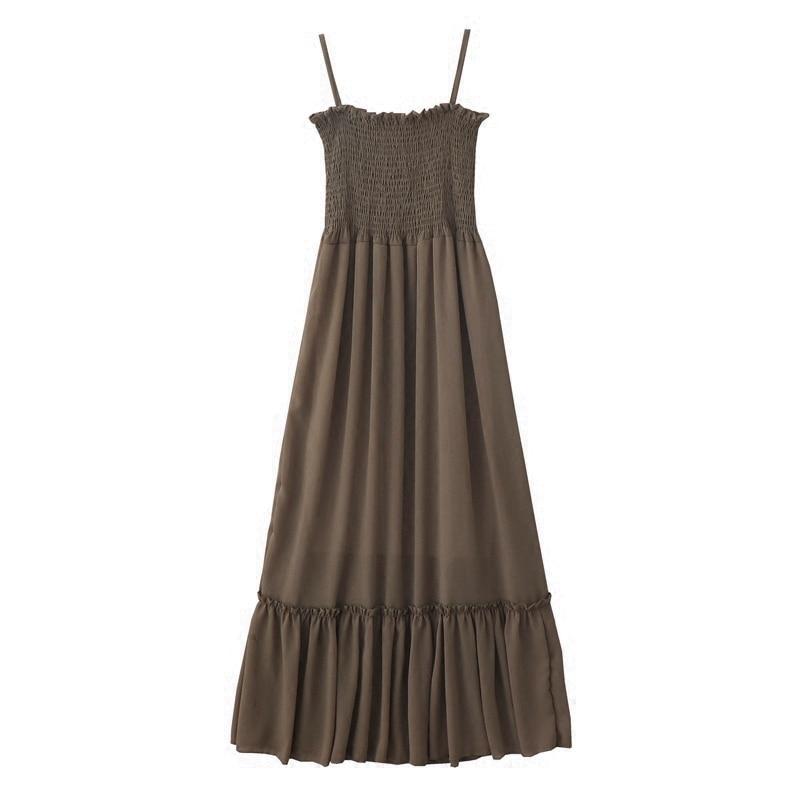 2019 summer new retro gentle long section high waist summer dress sleeveless sling chiffon solid color fairy women dress 3