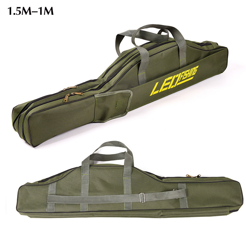 Portable Multifunction Fishing Bag Carrier Canvas 100/150CM Fishing Rod 2Layer