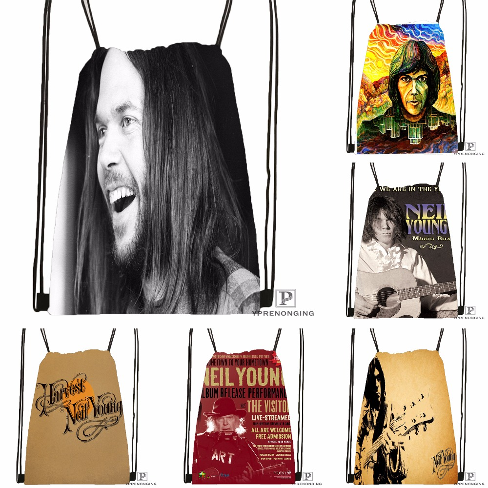 Custom Neil Young Drawstring Backpack Bag Cute Daypack Kids Satchel (Black Back) 31x40cm#180531-04-65