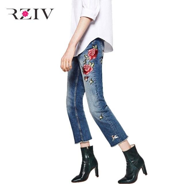 RZIV 2016 джинсы Женские повседневная птица розы вышитые патч джинсы ноги отверстие заусенцев джинсовые брюки