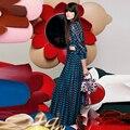 Высокое Качество 2017 Новая Мода Лето Осень Дизайнер Long Dress Женщины 3/4 Рукав Геометрическая Печатных Талии Выдалбливают Long Dress