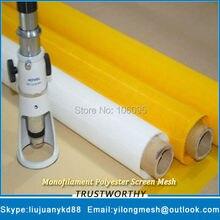 Фотография 195Mesh/77T 55um 145cm Yellow 25meters Free Shipping Monofilament Polyester Screen Printing Cloth Silk Screen Printing Mesh