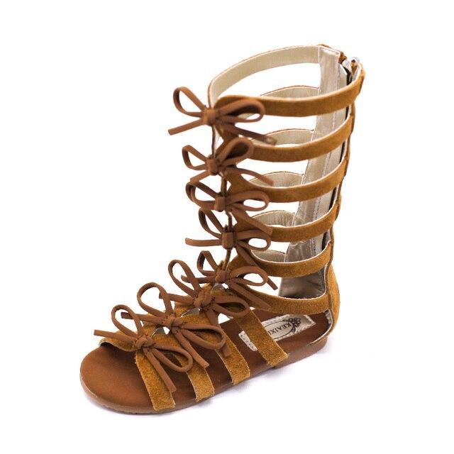 Roma Niñas Gladiador De Real Marrón Planas Botas Princesa 2017 Lazo Zapatos Para Bebé Sandalias Verano Marca Niños Cuero 8mN0vnwO