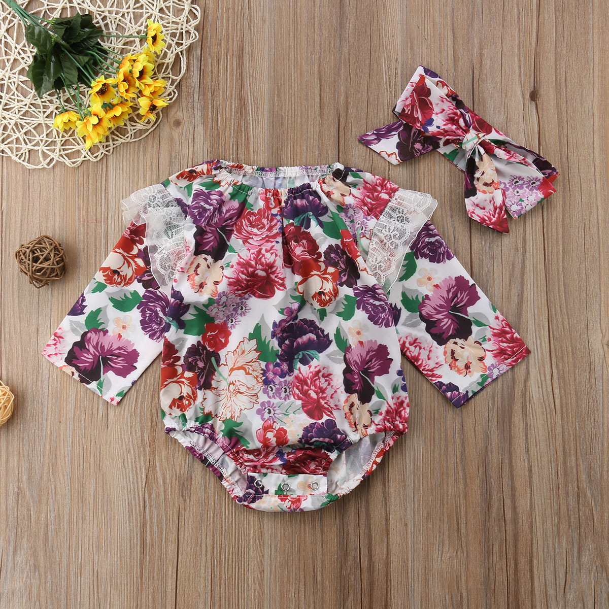 Newborn Toddle Baby Girls Floral Lace Bodysuit Jumpsuit Sunsuit Headband 2Pcs Cotton Outfit Clothes 0-24M Baby Girl