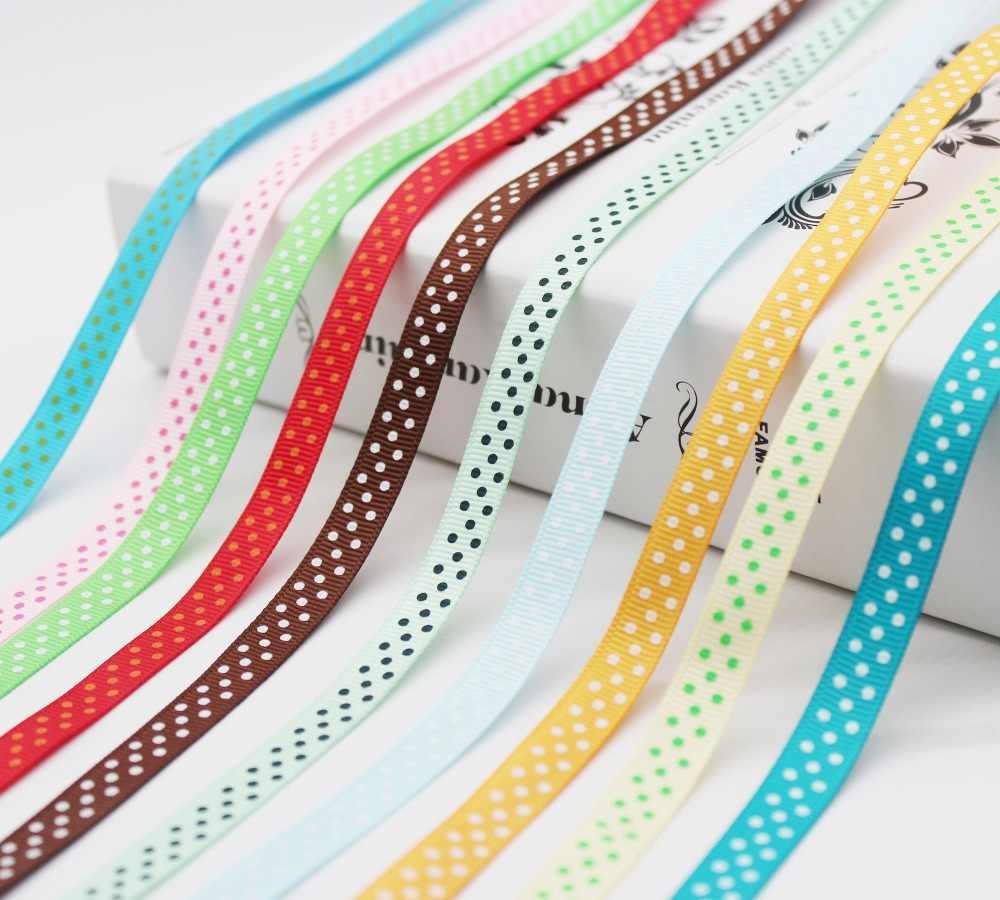 最大 3/8 インチ (9 ミリメートル/10 ミリメートル/1 センチメートル) 30 色水玉プリントグログランリボンに DIY 女の子 Hairbows