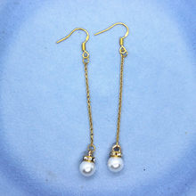 1 Pair Cute Simple Style Fashion Pearl Long Earrings Handmade 925 Prevent allergy Ear Hook Gold Color Dangle Earring 7.2*0.9cm(China)