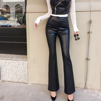 Lulu Leggings Real Rushed New Arrival Faux Leather Regular None 2018 Women's Trousers Temperament Puzzled Pants Flared Pu Women