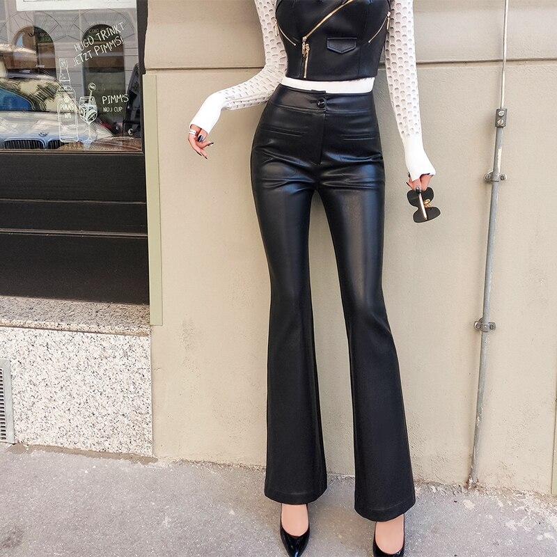 Lulu Leggings réel précipité nouveauté Faux cuir régulier aucun 2018 pantalons pour femmes tempérament perplexe pantalon évasé Pu femmes