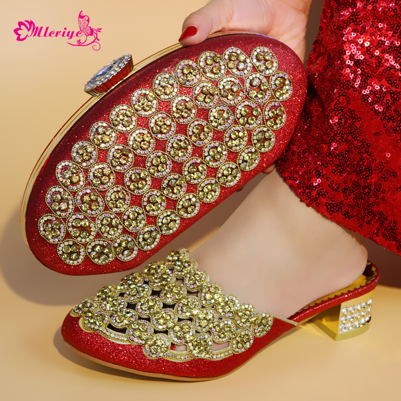 Shoes And Bag Set African Sets 2018 Red Color Italian Shoes With Matching Bag For Wedding Nigerian Shoe And Bag Set For Women цена