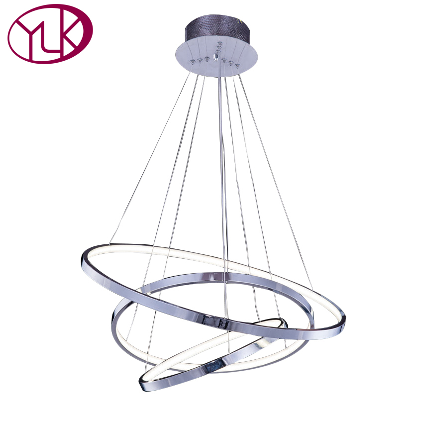 Youlaike Modern Chandelier Light For Living Room Three Rings Hanging LED Lighting Fixture Polished Chrome Home Lamps modern led crystal chandelier light fixture for living room dining room decorative hanging lamp diamond 3 rings chandeliers