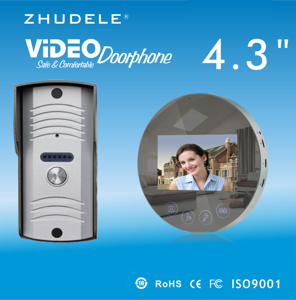 ZHUDELE Home security Smart4.3LCD monitor Speakerphone intercom doorbell Color Video Door Phone access Control System IR Camera