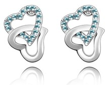 Double Heart Czech Crystal Stud Earrings