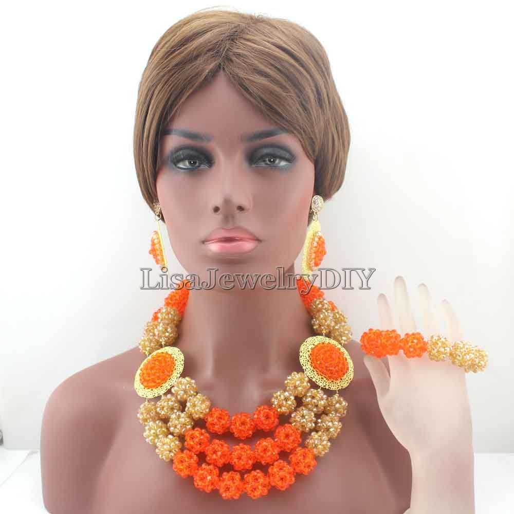 Fashion Chunky OrangeChampagne Ball Statement Jewelry Sets Crystal Necklace Set for Nigerian Wedding Free Shipping HD8304