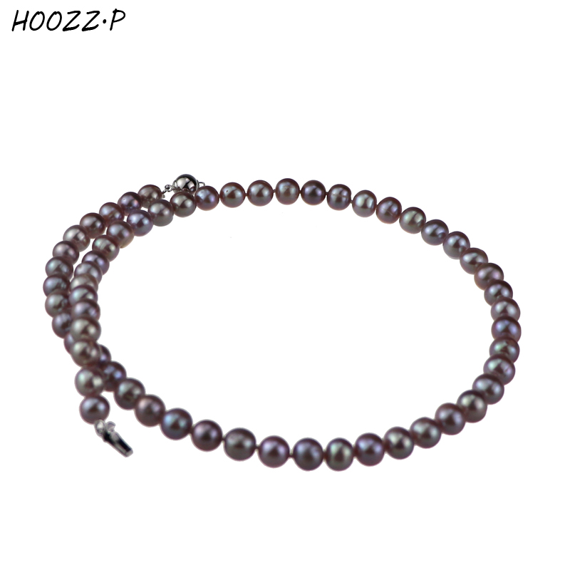 HOOZZ.P 925 Sterling silver Handpicked 6-7mm Lavender Freshwater Cultured Pearl Necklace Choker Necklace For women