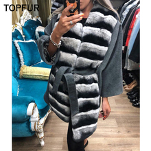 TOPFUR Women Real Fur Coat Luxury Hot Sale Hairy Skin Warm With Long Rex Rabbit Collar Top Quality New Style