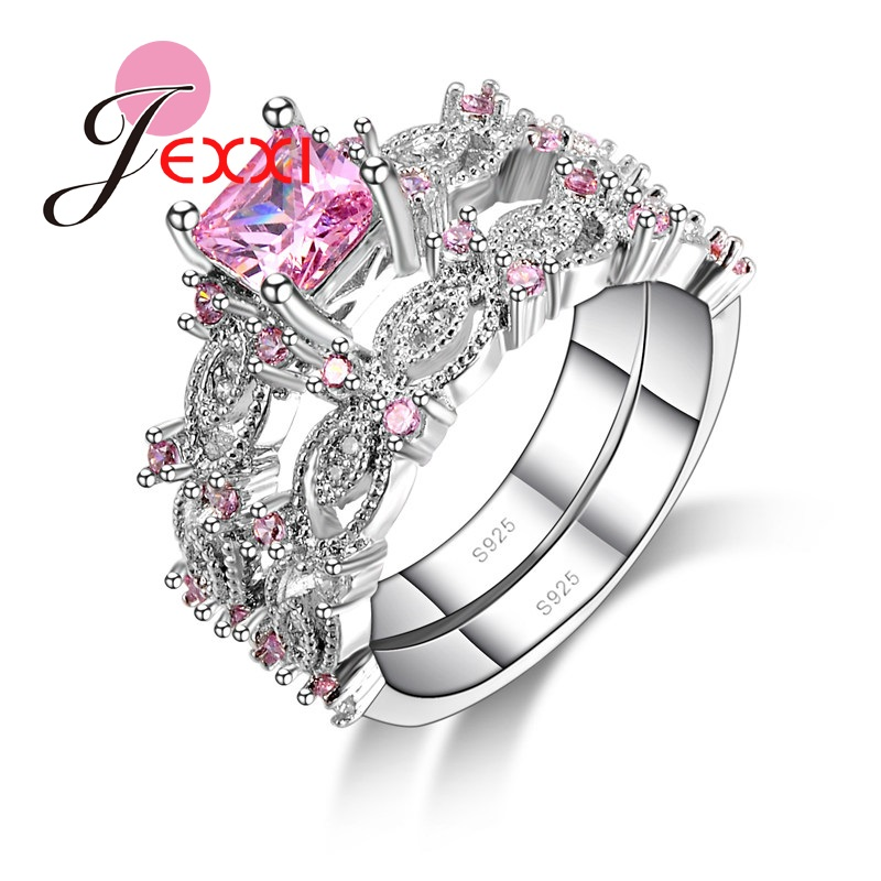 jexxi hot selling 2pcs beautiful wedding 925 sterling silver women pink cubic zirconia crystal couple rings set trendy jewelry - Pink Wedding Ring Set