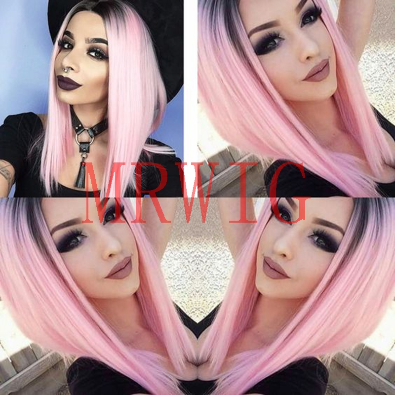 MRWIG ombre pink short bob straight glueless front lace wig middle part 10-16in stock 230g for fashion lady