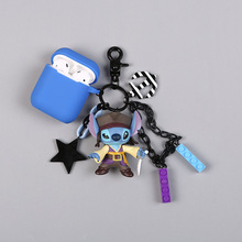 Cute Cartoon Pirate Stitch Keychain Headphone Earphone Silicone Cover Case For Apple Airpods Key Rings Accessories