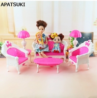 Girl Birthday Gift Dollhouse Plastic Vintage Sofa Couch Desk Lamp 6 Items Set Accessories For Barbie