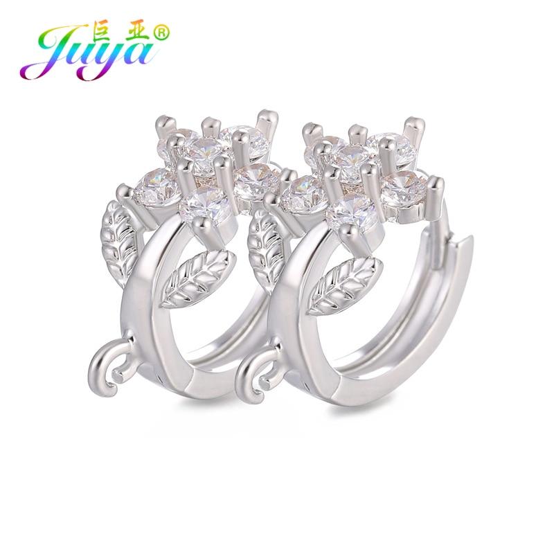 Juya DIY Earrings Jewelry Components Gold/Silver Hoop Earring Clasps & Hooks Accessories For Women Handmade Earrings Making