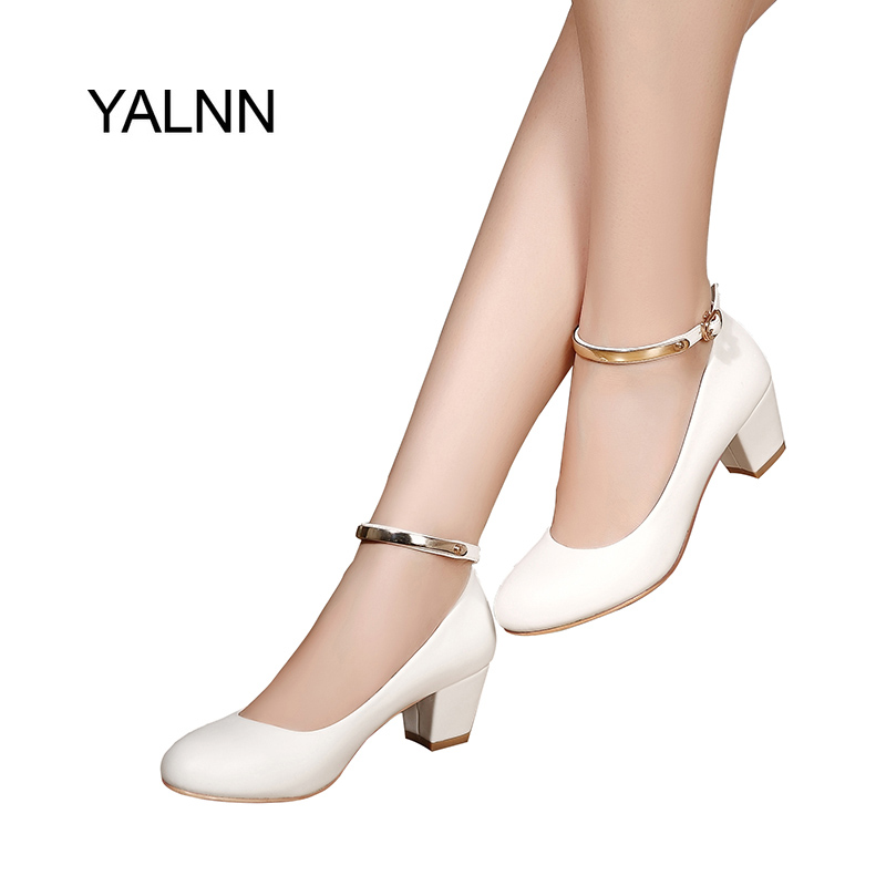 YALNN New Women's High Heels Pumps Sexy Bride Party Thick Heel Round Toe leather High Heel Shoes for office lady Women yalnn new women s high heels pumps sexy bride party thick heel round toe leather high heel shoes for office lady women